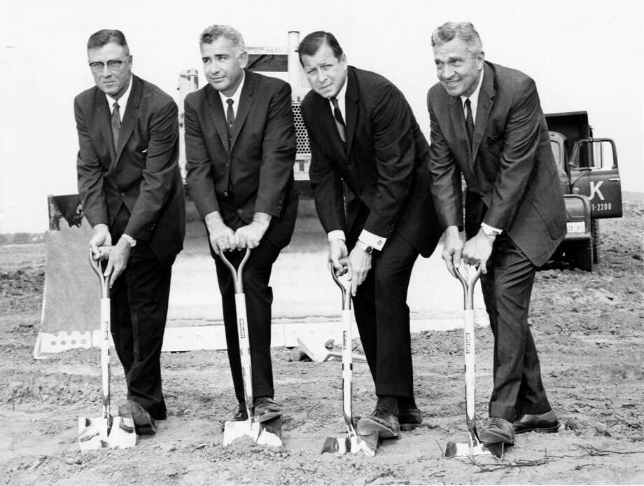 October 1963: Construction began over the weekend with a groundbreaking ceremony at the site of the new Sears store to be built in the $50 million Memorial City Shopping Center at the Gessner Road-Katy-West Freeway intersection. James A. Milne, general manager of Sears in the Houston area, said the store will be the most modern and complete of all Sears' stores in the Houston area and is scheduled to be ready for business in the fall of 1964. (L-R) Robert L. Buck and Joseph Johnson, developers of the Memorial City Shopping Center; Milne; and Houston Mayor Lewis Cutrer. Photo: Houston Chronicle