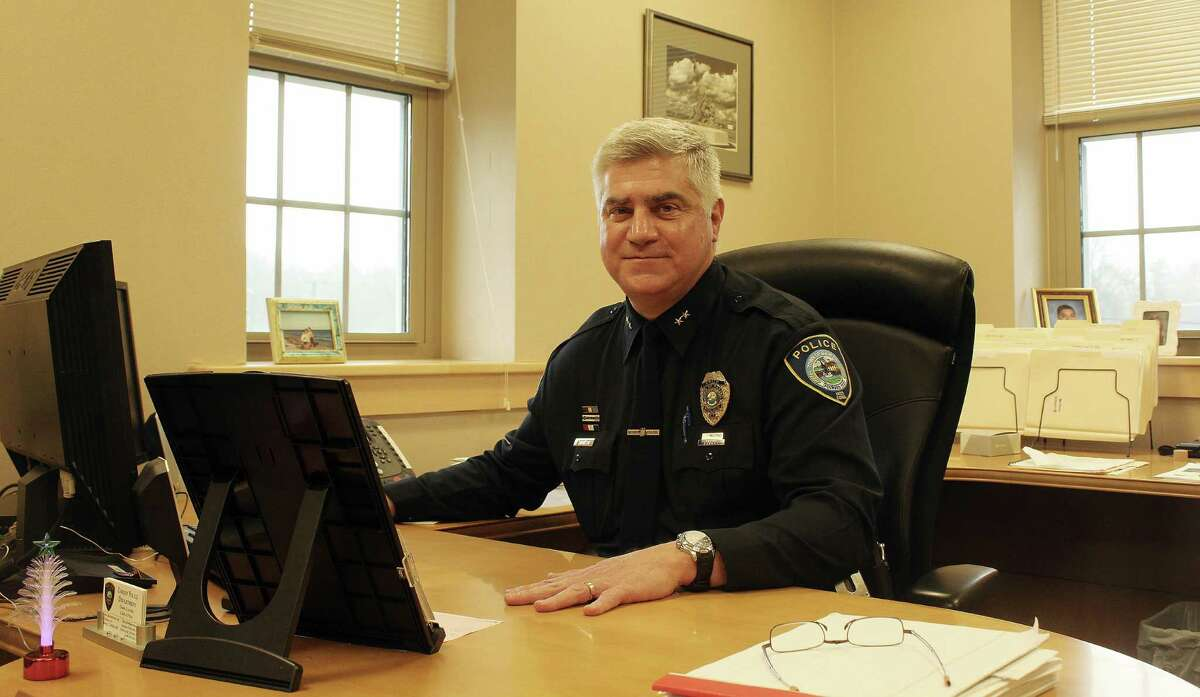 Chief Duane Lovello sits in his office in police headquarters in Darien, CT on Jan. 3, 2017. Lovello will retire on Feb. 15, 2017.