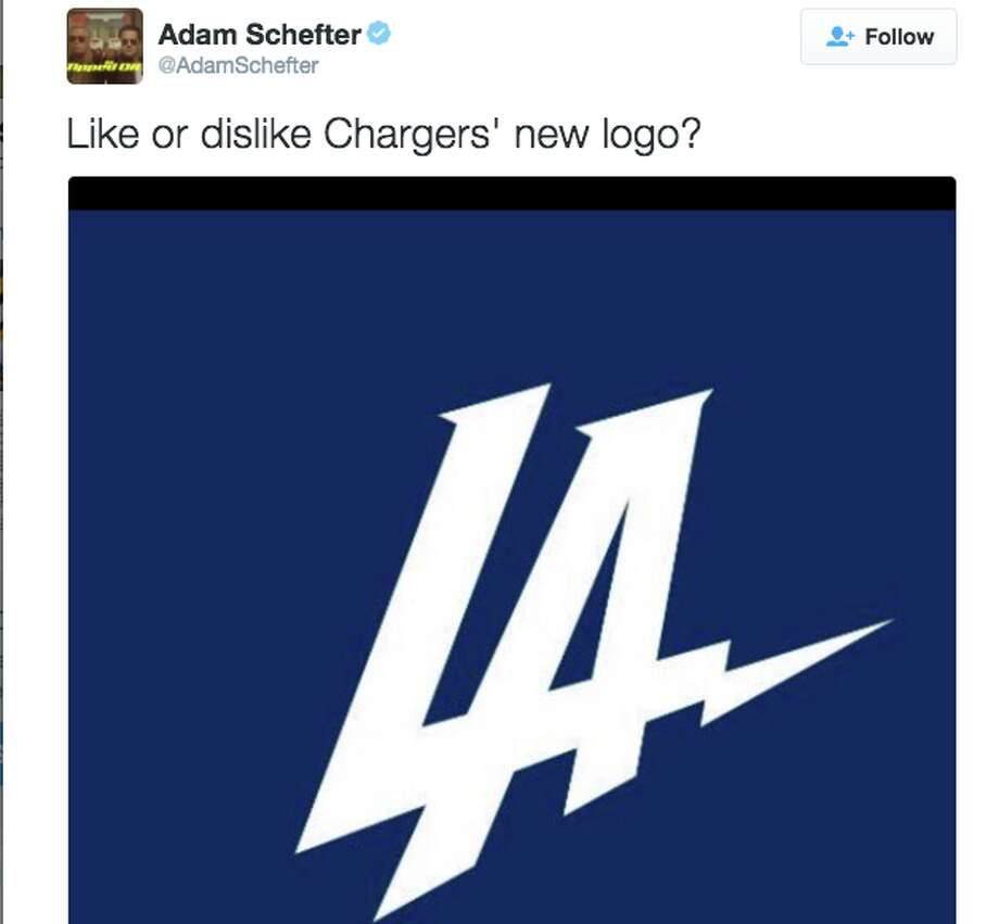 The Los Angeles Chargers released their new logo this morning, and Twitter wasn't impressed. Photo: @AdamSchefter/Twitter