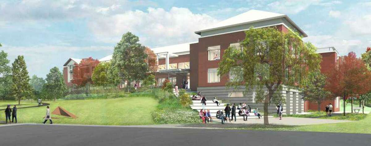 An outdoor view of the design for the new entrance at the Westport Library. Work is expected to start in August and be finished by summer 2019.