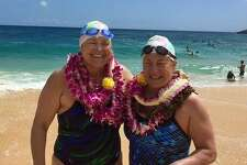 Westport's Elizabeth Fry (right) swam 17 hours and 30 minutes across the 42 kilometerMolokai Channel.