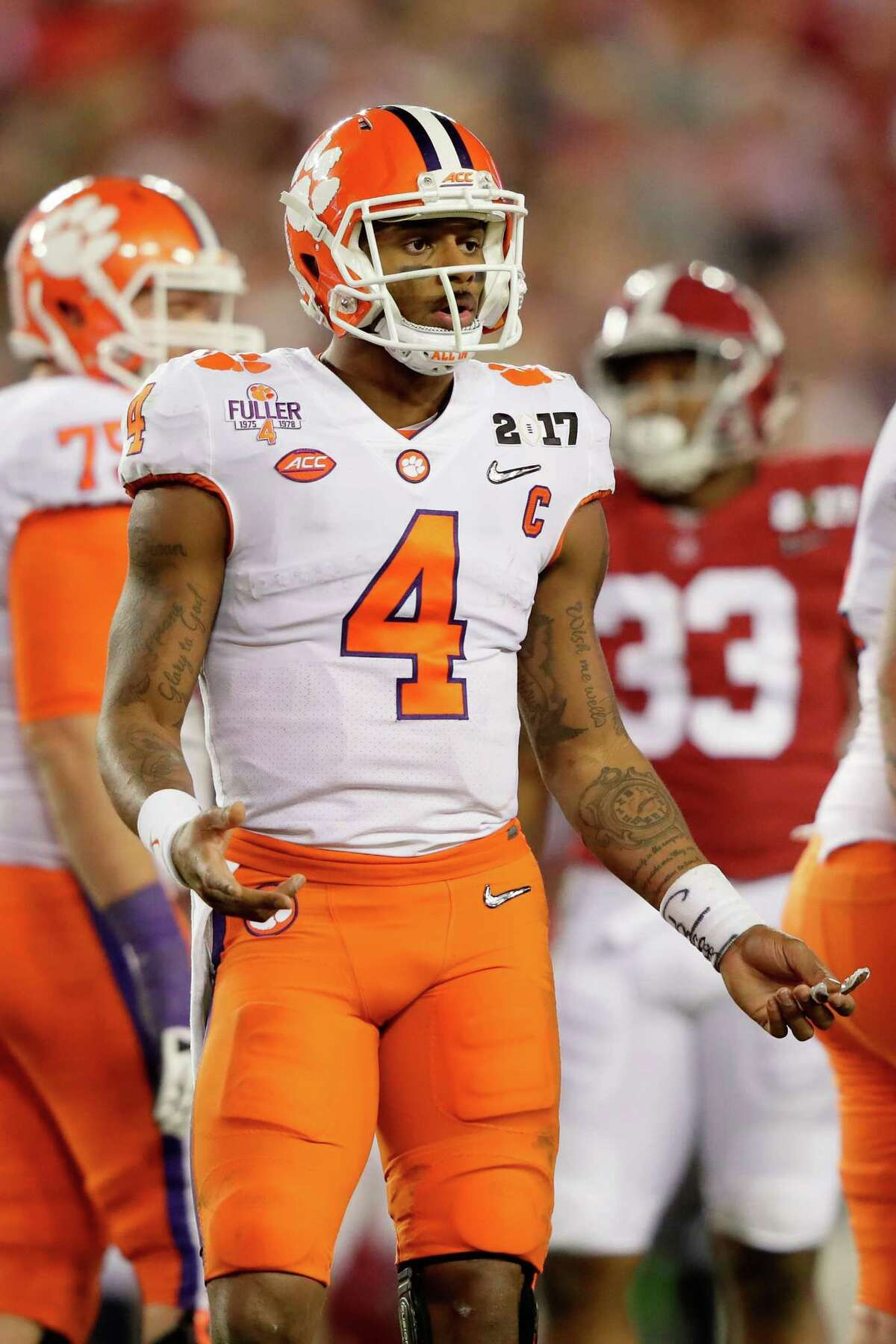 TAMPA, FL - JANUARY 09: Quarterback Deshaun Watson #4 of the Clemson Tigers reacts during the second half against the Alabama Crimson Tide in the 2017 College Football Playoff National Championship Game at Raymond James Stadium on January 9, 2017 in Tampa, Florida. (Photo by Jamie Squire/Getty Images)