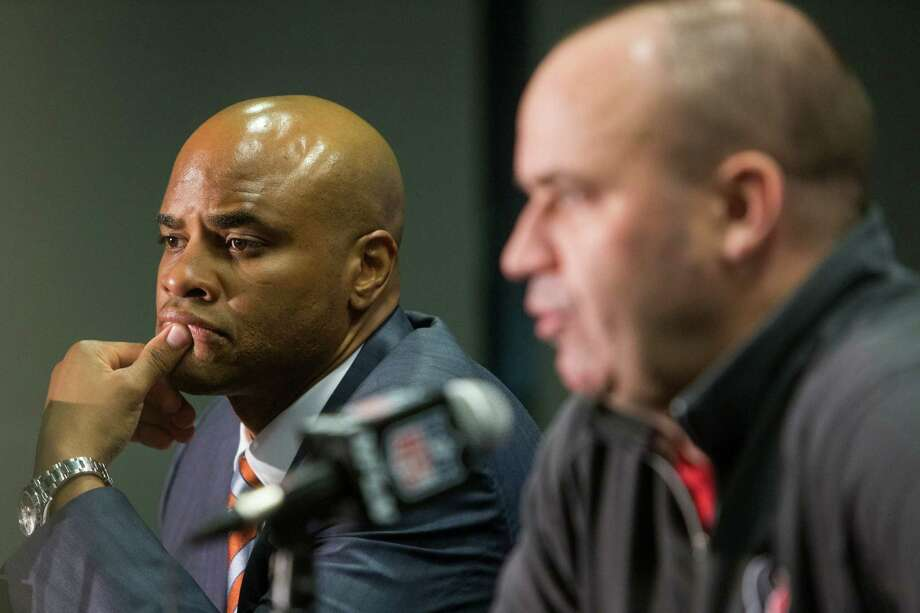 Texans general manager Rick Smith, left, and coach Bill O'Brien have been paired since the latter's hiring following the 2013 season. Smith, on the job since 2006, received a four-year contract extension last summer, which would indicate he's not going anywhere. Photo: Brett Coomer, Staff / © 2016 Houston Chronicle