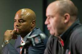 Texans general manager Rick Smith, left, and coach Bill O'Brien have been paired since the latter's hiring following the 2013 season. Smith, on the job since 2006, received a four-year contract extension last summer, which would indicate he's not going anywhere.