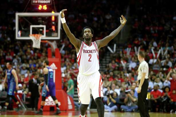 Houston Rockets guard Patrick Beverley (2) reacts after forward Sam Dekker (7) makes a three-point shot during the fourth quarter of an NBA game at the Toyota Center, Tuesday, Jan. 10, 2017, in Houston. ( Jon Shapley / Houston Chronicle )