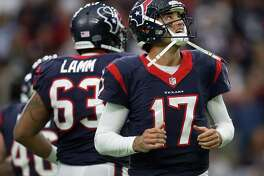 Houston Texans quarterback Brock Osweiler (17) reacts after a fourth down during the second quarter of an NFL playoff game at NRG Stadium, January 7, 2017. ( Karen Warren / Houston Chronicle )