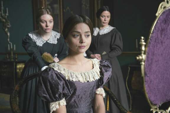 """Jenna Coleman (center) stars in """"Victoria"""" alongside Nell Hudson (left) and Eve Myles."""