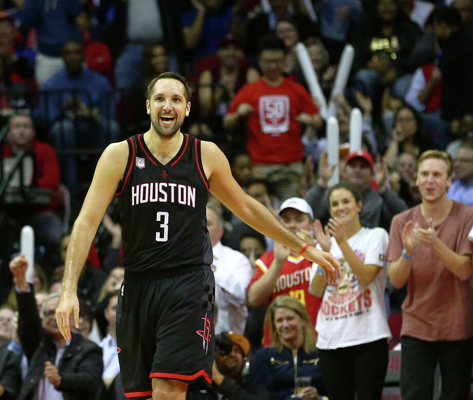 Rockets forward Ryan Anderson's grin confirms what he says, that it's been a fun season, mainly because the team is winning in record-bending fashion. Photo: Jon Shapley, Staff / © 2015  Houston Chronicle