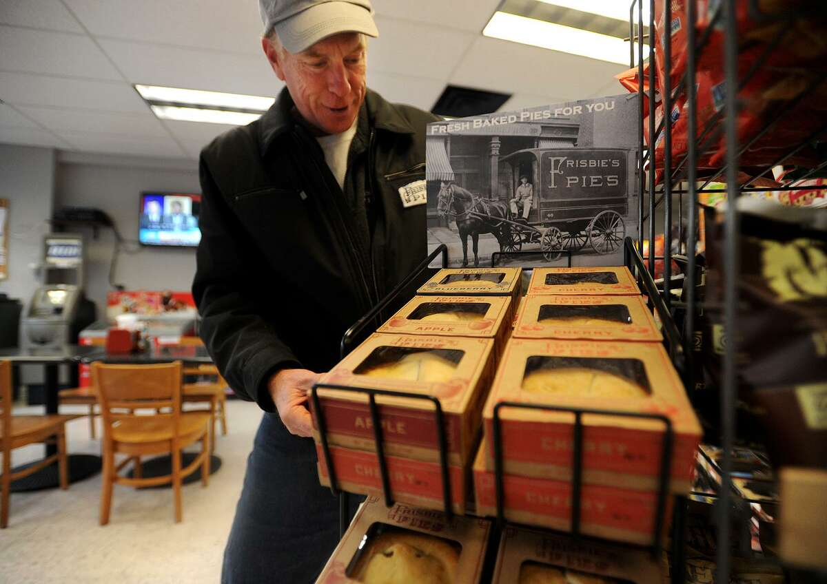 Dan O'Connor, of Fairfield, delivers a load of Frisbie Pies to Brooklawn Grocery & Deli at 652 Brooklawn Avenue in Bridgeport, Conn. on Wednesday, January 11, 2017. O'Connor has relaunched the company after purchasing the name rights to the original Bridgeport business, famous for the flying disc craze that began with the company's pie tins.