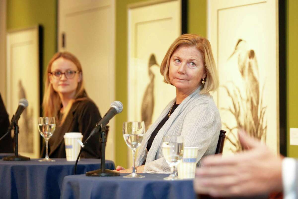 Christine Steiner, Of Counsel at Withers Bergman law firm, answers a question about the complex New York tax policy that impacts art collectors at the Bruce Museum Friday, October 14, 2016.