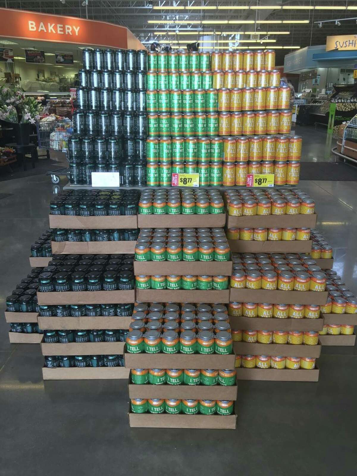 Bakfish Brewing cans hit the shelves at the Pearland Parkway HEB store on Jan. 12, 2017.