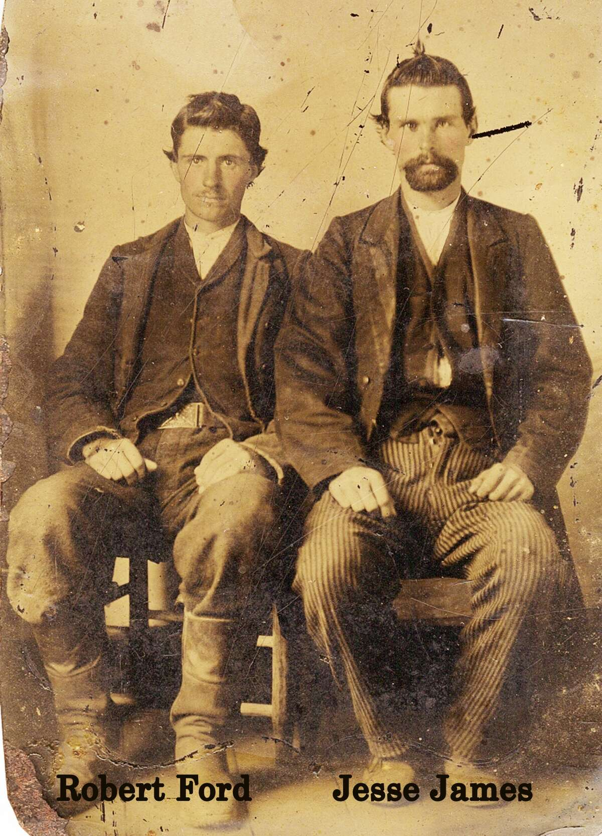 The rare tintype photo of Jesse James sitting beside his eventual murderer, Robert Ford, comes from the estate of San Antonio collectors Tommy and Sara Jane Howell. The lot, touting the prized photo and other antiques, is the second installment sold by Burley Auctions. The loose estimated sales price of the photo is $50,000 to $1 million.
