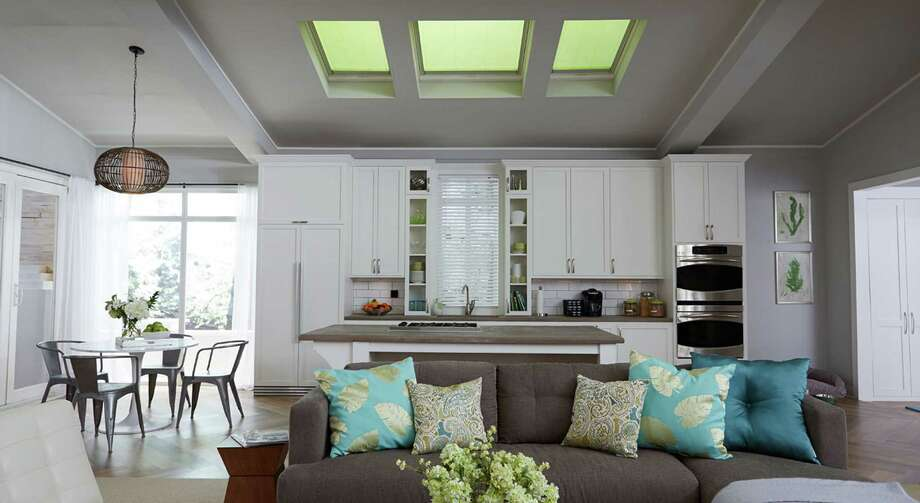 """Velux solar-powered """"Fresh Air"""" skylights with blinds make a big difference in reducing the heat that comes in, while blinds can increase the energy efficiency of the skylights about 30 percent. Photo: Courtesy Of Innovative Skylights"""