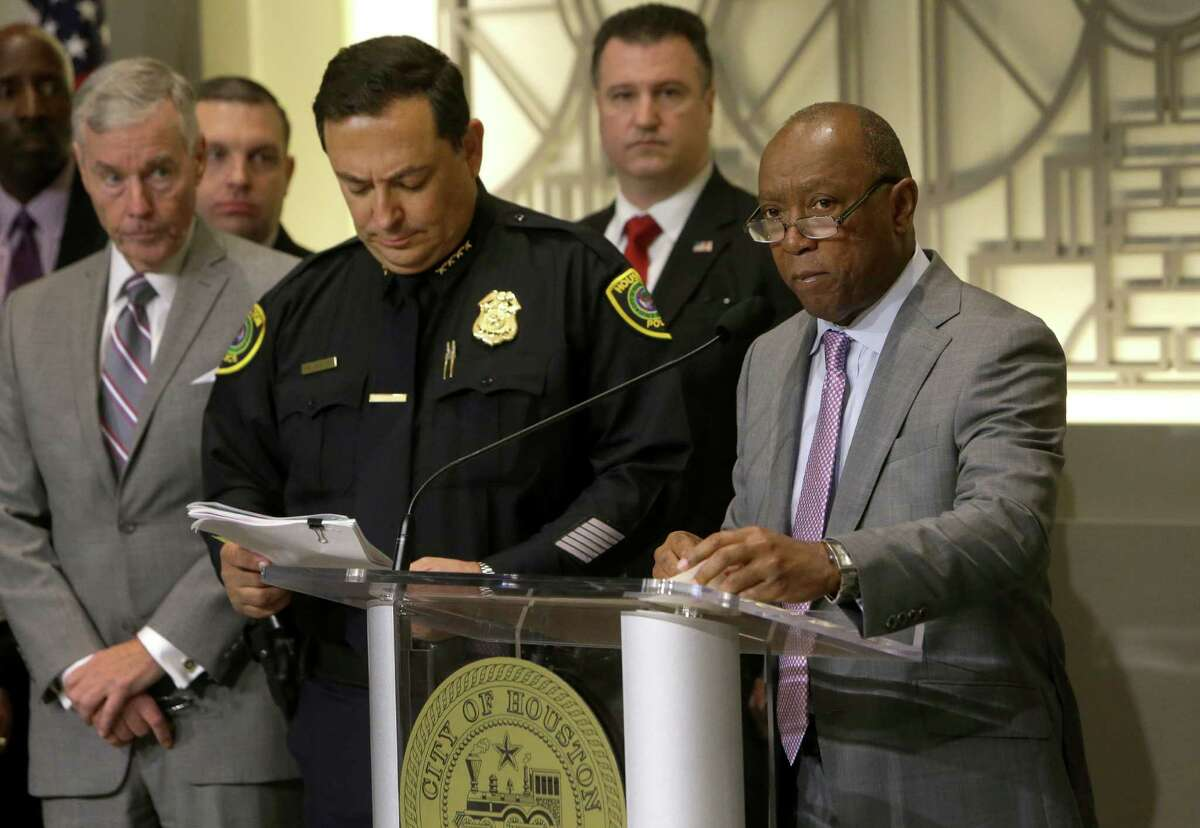 Houston Mayor Sylvester Turner speaks at a media conference about human trafficking issues related to the upcoming Super Bowl shown at Houston City Hall, 901 Bagby, Thursday, Jan. 12, 2017, in Houston. Houston Police Chief Art Acevedo is shown on the left.