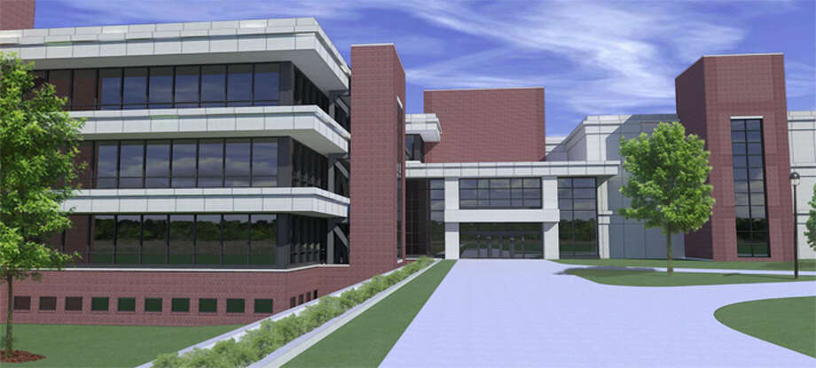 Seismic tower renderings of the SIUE Science Building from the south.