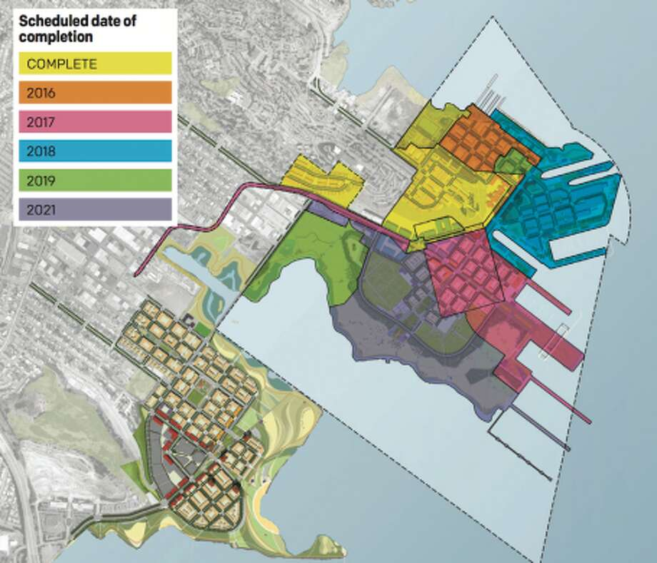 In a plan stretching into the 2020s, FivePoint proposes to build up to 12,000 homes at the Shipyard and at Candlestick Point. As of December 2016, 205 homes had been finished, but that was before the EPA put an indefinite hold on the development.