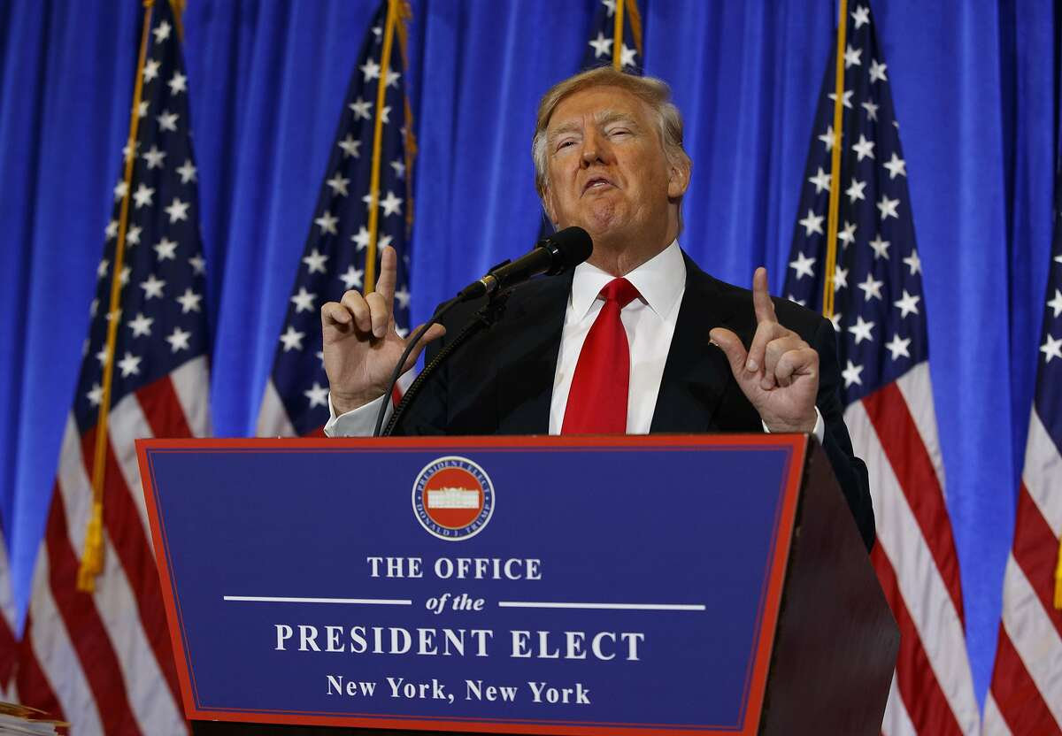 In this Jan. 11, 2017, photo, President-elect Donald Trump speaks during a news conference in the lobby of Trump Tower in New York. (AP Photo/Evan Vucci)
