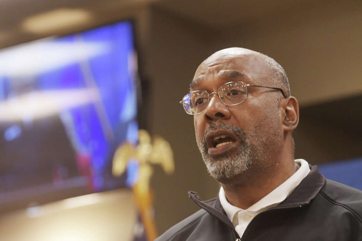 Aaron Mair, president of Sierra Club, talks about the residents of the Ezra Prentice Housing during a press conference at the Albany County offices to discuss Global's facilities at the Port of Albany on Monday, Sept. 19, 2016, in Albany, N.Y. (Paul Buckowski / Times Union)
