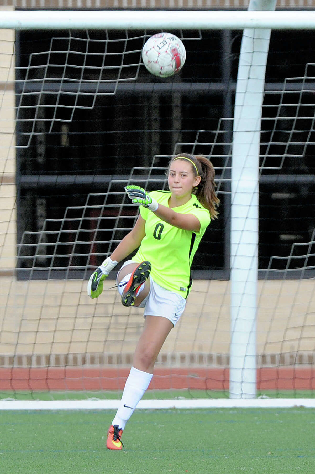Goal Keeper Emilee Ulke (0) of George Ranch makes a goal kick during the second half of a girls soccer game in the Tiger Bracket of the Typhoon Texas/I-10 Shootout between the Lamar Texans and the George Ranch Longhorns on Thursday January 12, 2017 at Katy HS, Katy, TX.