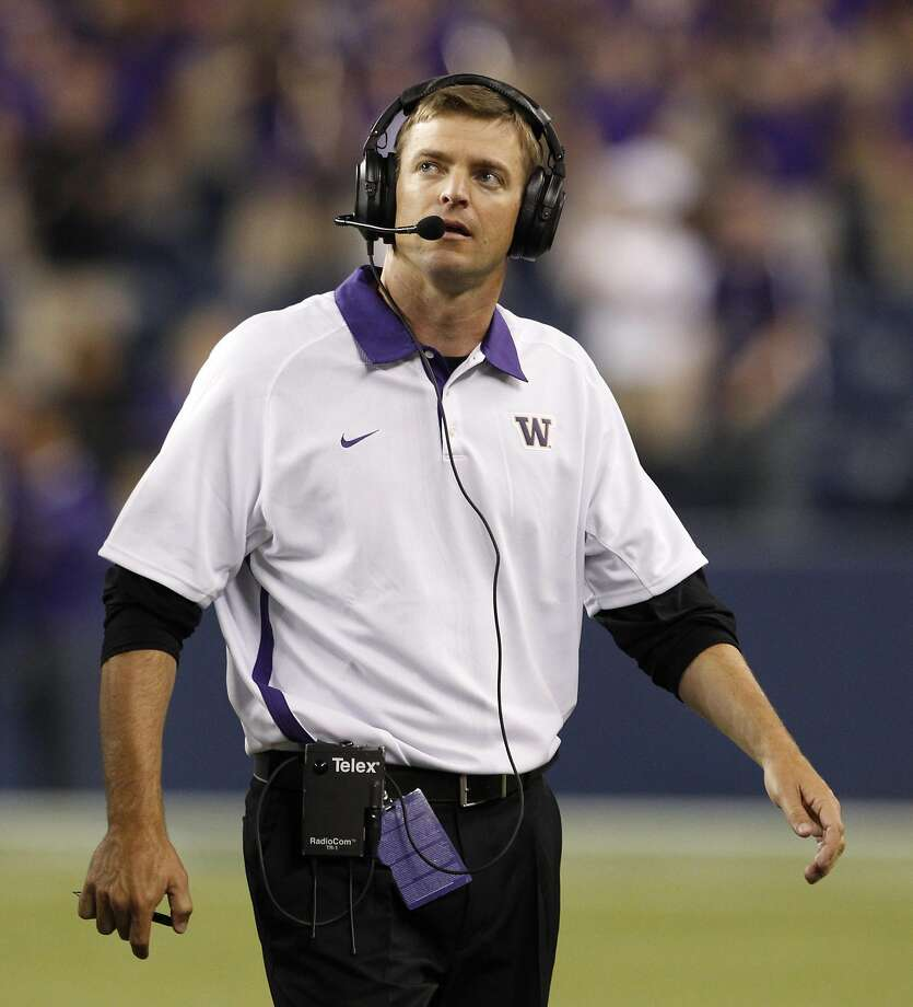Justin Wilcox has previously coached at Wisconsin, USC, Washington (shown here), Tennessee, Boise State, Cal and Boise State. Photo: Elaine Thompson, AP