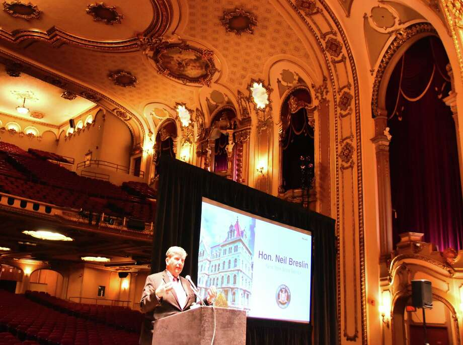 State Sen. Neil Breslin discusses the Palace Theatre renovation and expansion project Thursday, Jan. 12, 2017, at a news conference at the Albany theater. (Steve Barnes/Times Union)