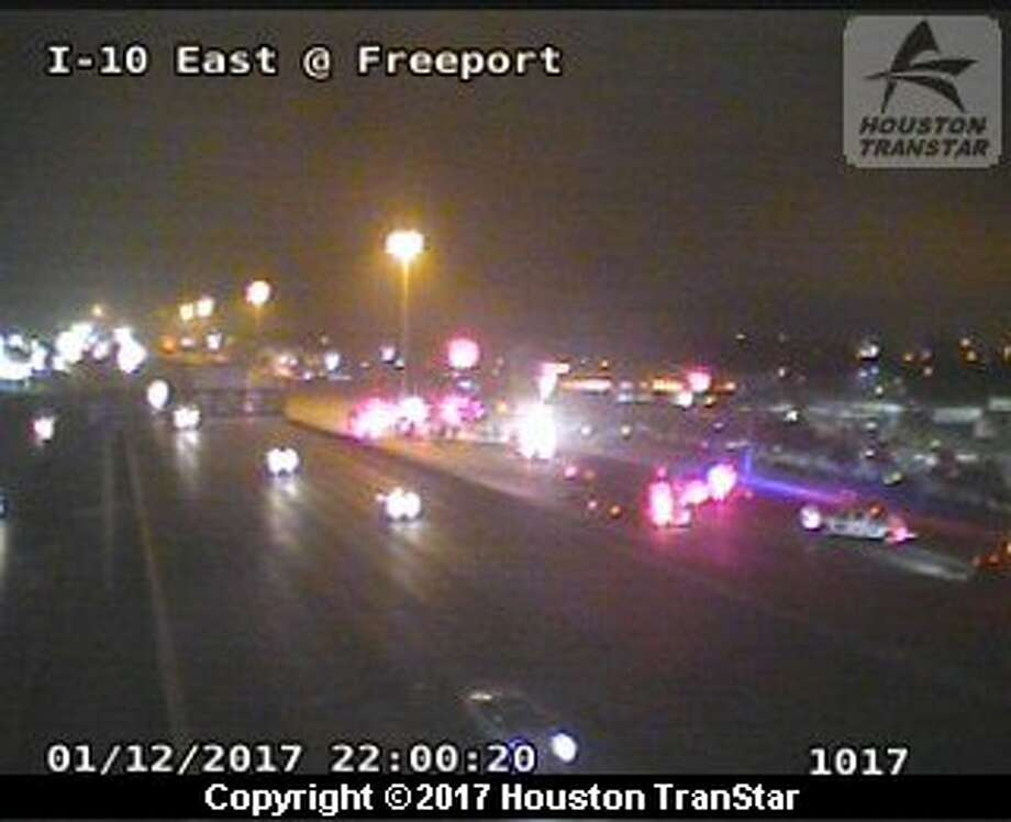 A vehicle fire forced a part of I-10 East to shut down on Thursday night. Photo: TranStar