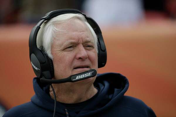 Denver Broncos defensive coordinator Wade Phillips stands on the field before an NFL football game against the Oakland Raiders, Sunday, Jan. 1, 2017, in Denver. (AP Photo/Jack Dempsey)