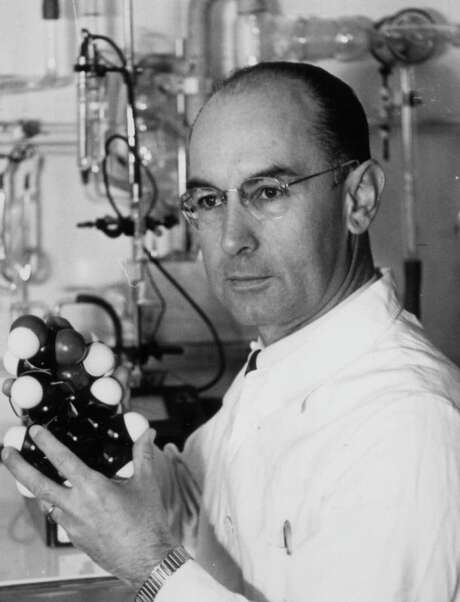 Dr. Albert Hofmann, showing a model of the LSD molecule, was the Swiss chemist who discovered the hallucinogenic drug associated with the hippie movement. Photo: Getty Images 1967 / Getty Images 1967 / NOVARTIS