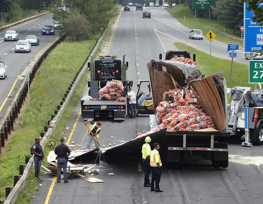 Tractor-trailer trucks are banned from the Merritt Parkway, but it happens.