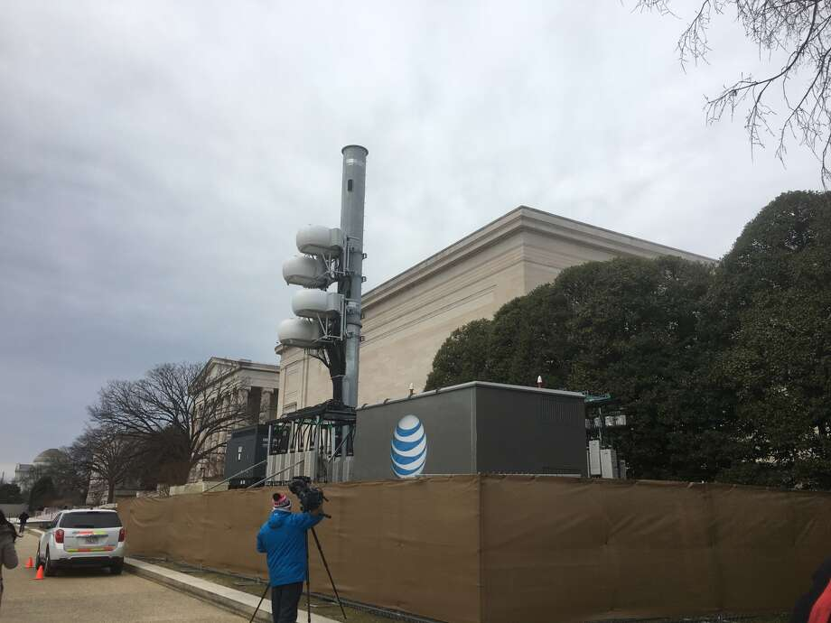 A temporary cell site set up on the National Mall by AT&T.  Photo: Brian Fung