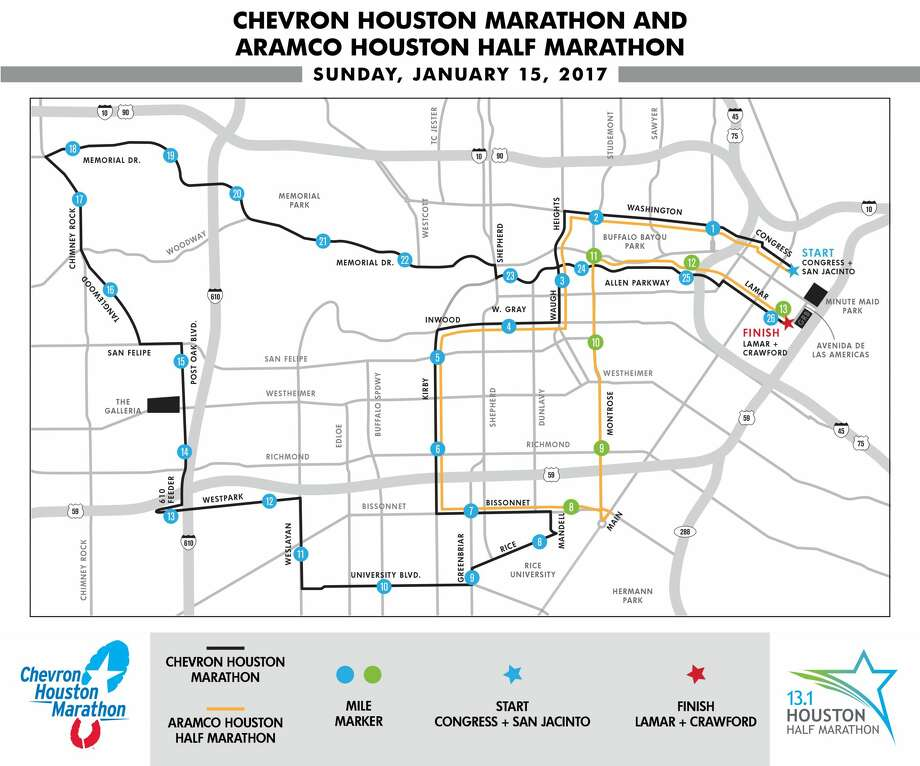 The course for the 2017 Houston Marathon and Half Marathon on Sunday, Jan. 15, 2017. Photo: Houston Marathon