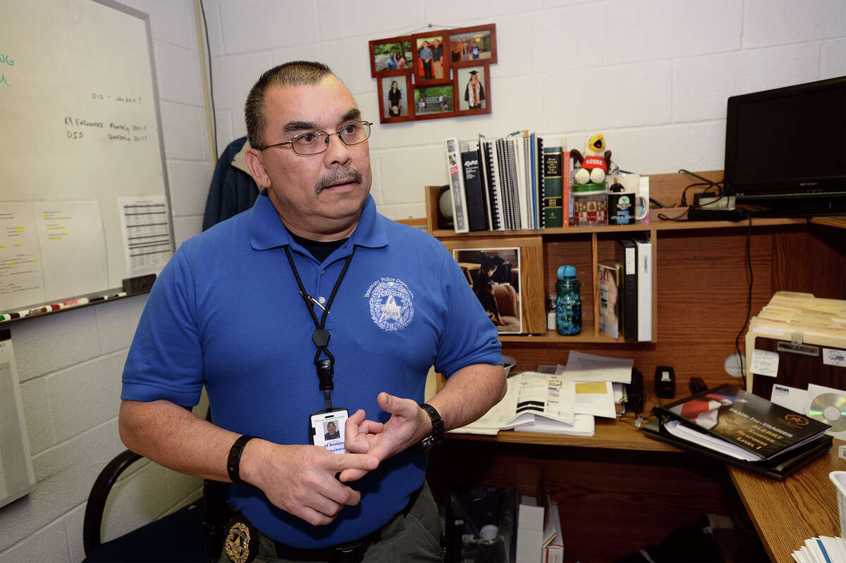 Beaumont Police Officer Danny Valdez talks about his kidney transplant in his office on Wednesday. Photo taken Wednesday, January 11, 2017 Guiseppe Barranco/The Enterprise