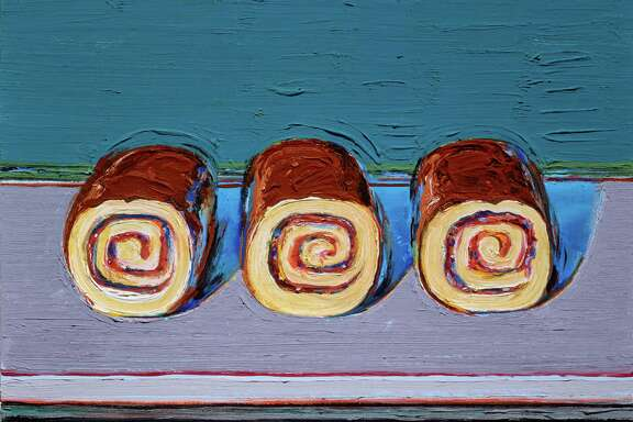 """Wayne Thiebaud's """"Jelly Rolls (for Morton)"""", an oil painting from 2008, is among works on view in """"Two Centuries of American Still-Life Painting: The Frank and Michelle Hevrdejs Collection"""" at the Museum of Fine Arts, Houston,  Jan. 14-April 9. The couple have donated the works to the MFAH."""