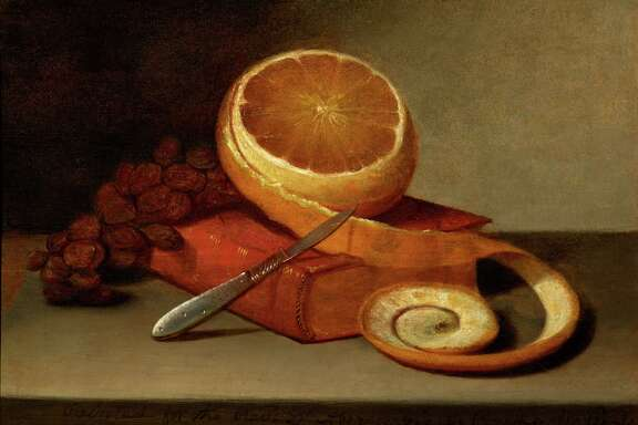 """Raphaelle Peale, """"Orange and Book,"""" c. 1817, oil on canvas, epitomizes early still-life works."""