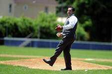 Ansonia Mayor David Cassetti throws a few pitches during vintage baseball practice Saturday, June 21, 2014 at Shortell Field in Ansonia, Conn.