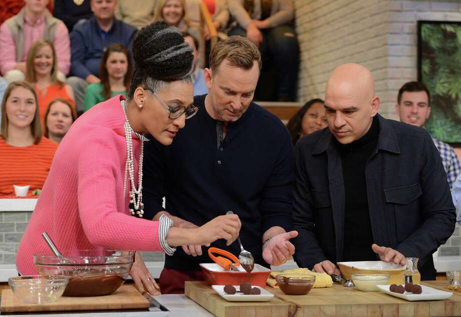 """Carla Hall, Clinton Kelly and Michael Symon on ABC's """"The Chew."""" Photo: Lorenzo Bevilaqua / ABC Via Getty Images / © 2016 American Broadcasting Companies, Inc. All rights reserved."""