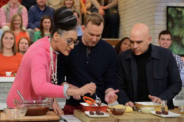 "Carla Hall, Clinton Kelly and Michael Symon on ABC's ""The Chew."""