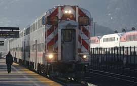 A northbound train arrives at the Bayshore Caltrain station in Brisbane, Calif. on Friday, Jan. 13, 2017.