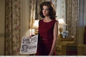 Katie Holmes as Jackie Kennedy Onassis confronts Ted Kennedy about Chappaquiddick tragedy in new miniseries, 'The Kennedys -- After Camelot.'