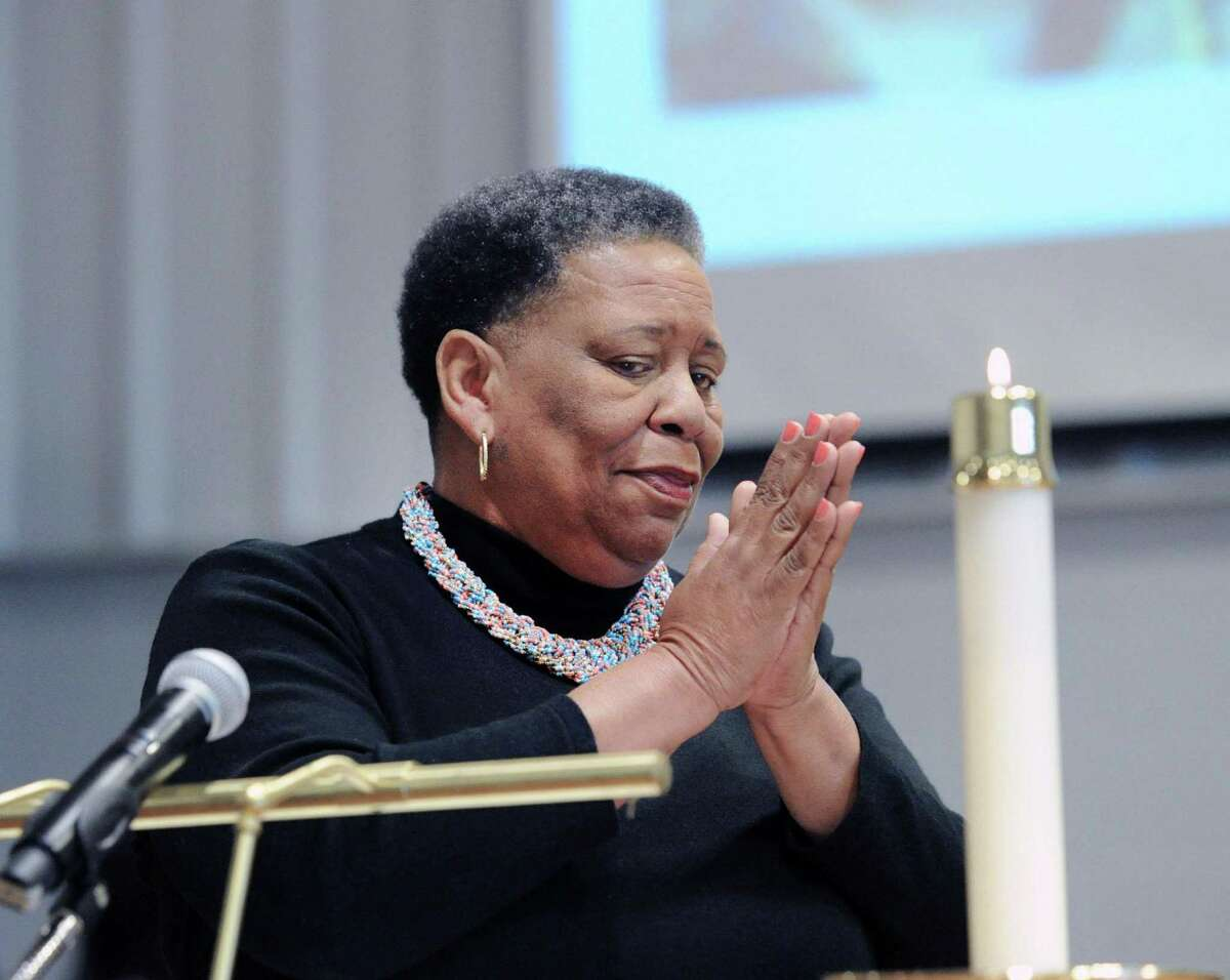 Civil and Human Rights Activist Joanne Bland spoke during the annual assembly and prayer service to honor the legacy and memory of Dr. Martin Luther King, Jr., at Sacred Heart Greenwich in Greenwich.