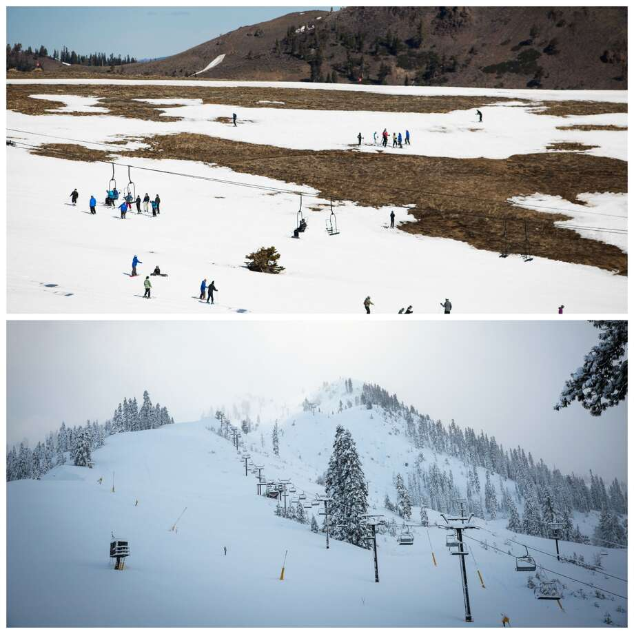 Squaw Valley: Before and after the storm Top: A view of Squaw Valley in March 2016.  Bottom: A view of Squaw Valley after the January 2017 storms. Photo: AlpineMeadows
