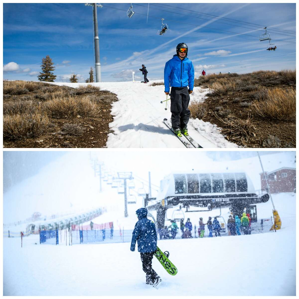Squaw Valley: Before and after the storm Top: A view of Squaw Valley in March 2016. Bottom: A view of Squaw Valley after the January 2017 storms.