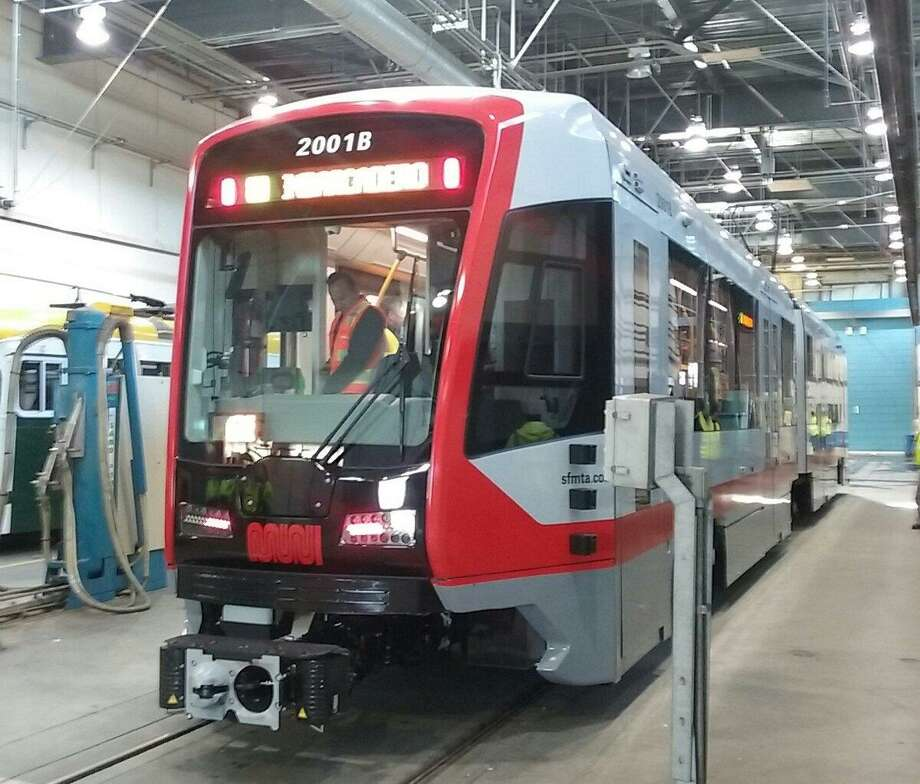 The first of the new Muni Metro light rail cars arrived in San Francisco Friday and will undergo testing before being up in use later this year. Photo: SFMTA / /
