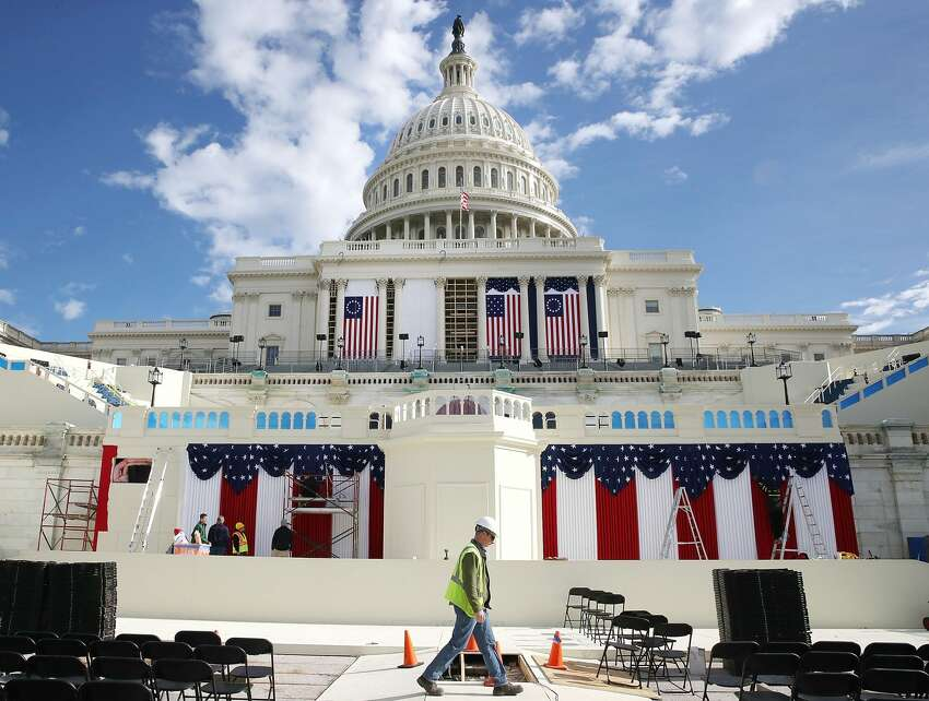 Work is still being performed on the stage ahead of next week inauguration at the U.S. Capitol, on January 13, 2017 in Washington, DC. On January 20, 2017 President elect Donald Trump with be sworn in as the nations 45th president. (Photo by Mark Wilson/Getty Images)