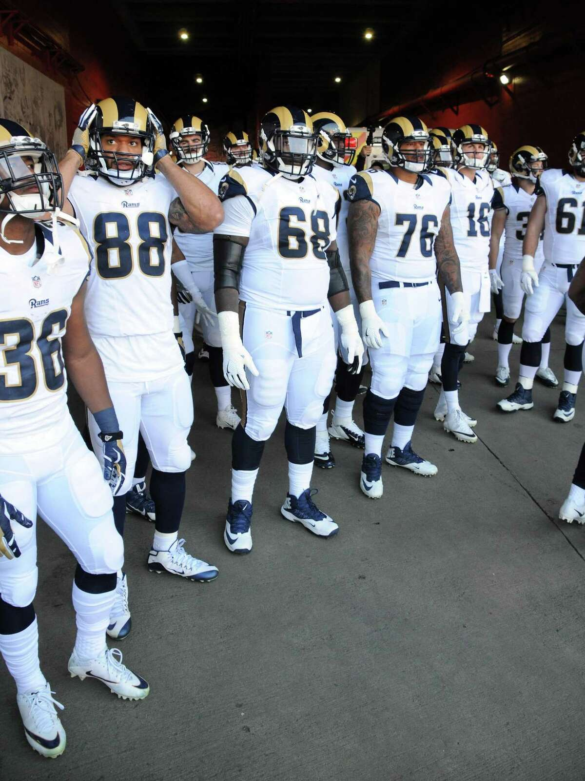 Members of the Los Angeles Rams offense in the Memorial Coliseum tunnel before heading to the field before a game against the Arizona Cardinals played at the Los Angeles Memorial Coliseum in Los Angeles on Jan. 1, 2017.