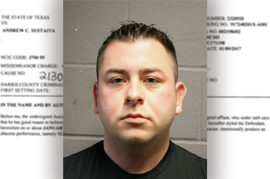 Andrew Sustaita Jr. was relieved of duty from the Harris County Sheriff's Office after allegations related to obscenity. (HCSO/Houston Chronicle composite)