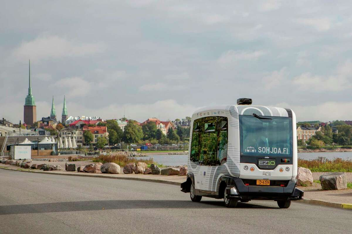 A self-driving bus operates in Helsinki, Finland, Sept. 15, 2016. Several Finnish universities are working together to develop a self-driving bus project, called Sohjoa, the success of which would reduce cities' dependence on cars.
