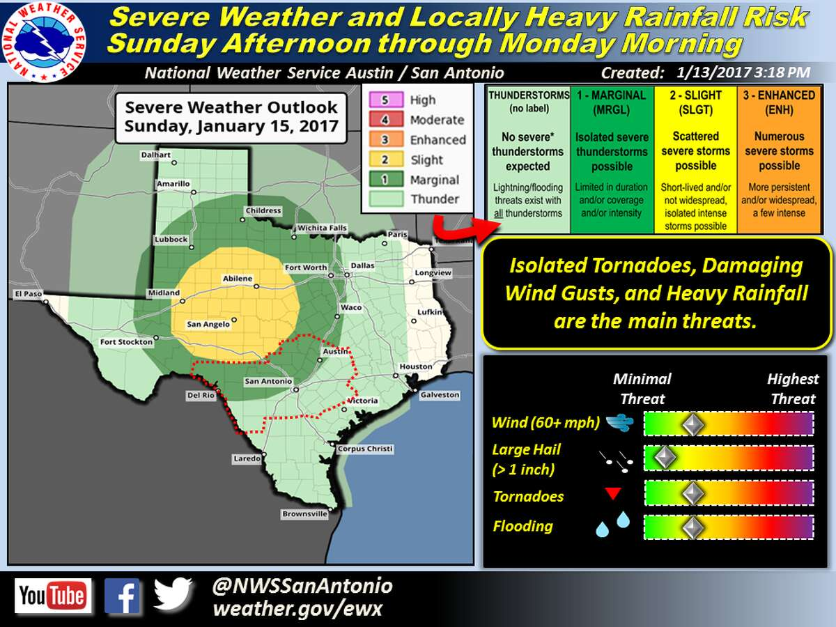 Strong to severe thunderstorms and heavy rainfall may hit San Antonio the afternoon of Jan. 15, 2017, according to the National Weather Service.