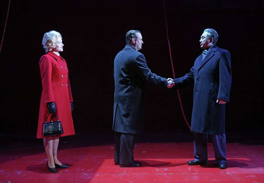 "(LtoR) Andriana Chuchman as Pat Nixon, Scott Hendricks as Richard Nixon and Chen-Ye Yuan as Premiere Chou En-lai are starring in ""Nixon in China,"" an opera that originally premiered at the Houston Grand Opera thirty years ago, during a rehearsal, Monday, Jan. 9, 2017, in Houston. ( Mark Mulligan / Houston Chronicle ) Photo: Mark Mulligan, Staff / © 2017 Houston Chronicle"
