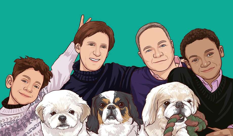 The Fisher-Paulsonfamily drawn here with Krypto (left),Bandit (middle) andBuddyboy (right). Photo: Courtesy Kevin Fisher-Paulson
